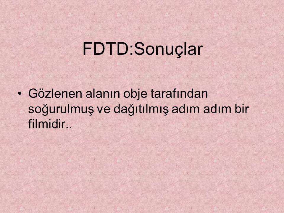 FDTD:Sonuçlar Gözlenen alanın obje tarafından soğurulmuş ve dağıtılmış adım adım bir filmidir..