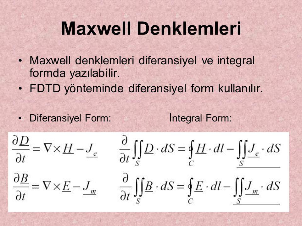Maxwell Denklemleri Maxwell denklemleri diferansiyel ve integral formda yazılabilir. FDTD yönteminde diferansiyel form kullanılır.