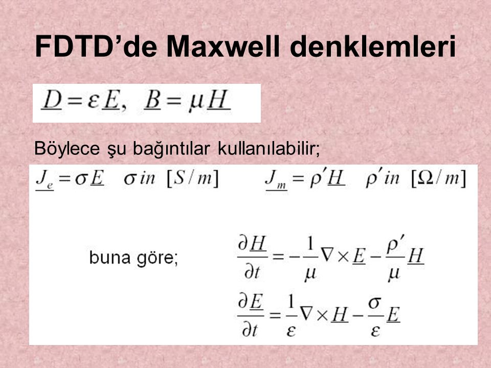 FDTD'de Maxwell denklemleri