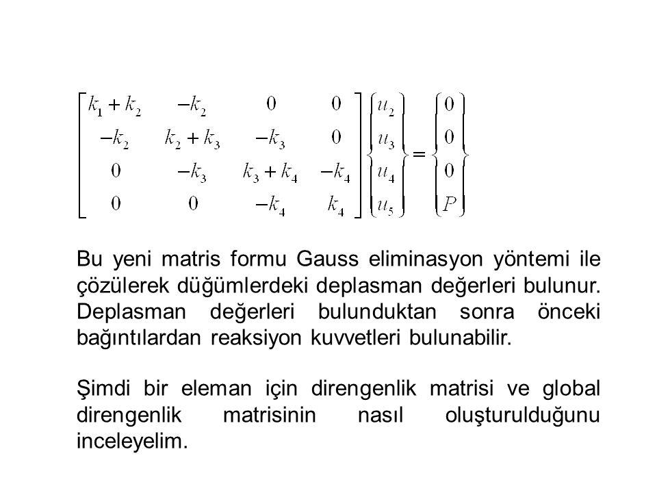 Bu yeni matris formu Gauss eliminasyon yöntemi ile çözülerek düğümlerdeki deplasman değerleri bulunur. Deplasman değerleri bulunduktan sonra önceki bağıntılardan reaksiyon kuvvetleri bulunabilir.