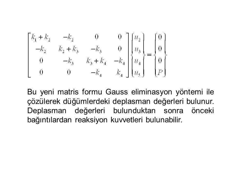 Bu yeni matris formu Gauss eliminasyon yöntemi ile çözülerek düğümlerdeki deplasman değerleri bulunur.