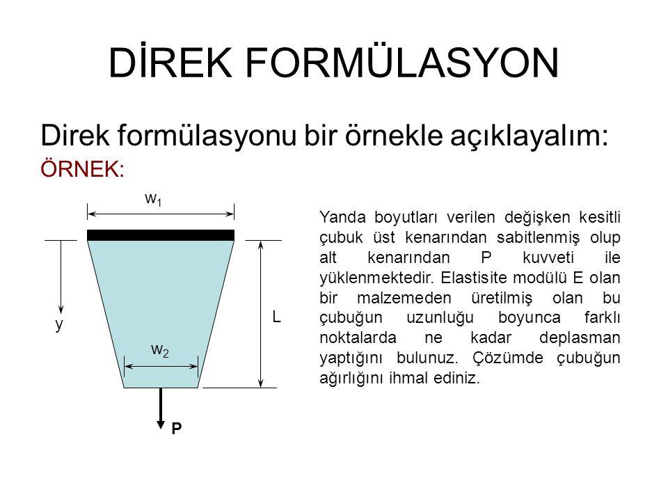 DİREK FORMÜLASYON Direk formülasyonu bir örnekle açıklayalım: ÖRNEK: