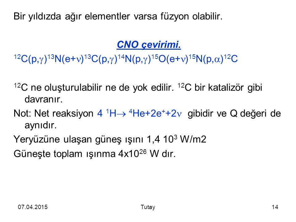 Bir yıldızda ağır elementler varsa füzyon olabilir. CNO çevirimi.