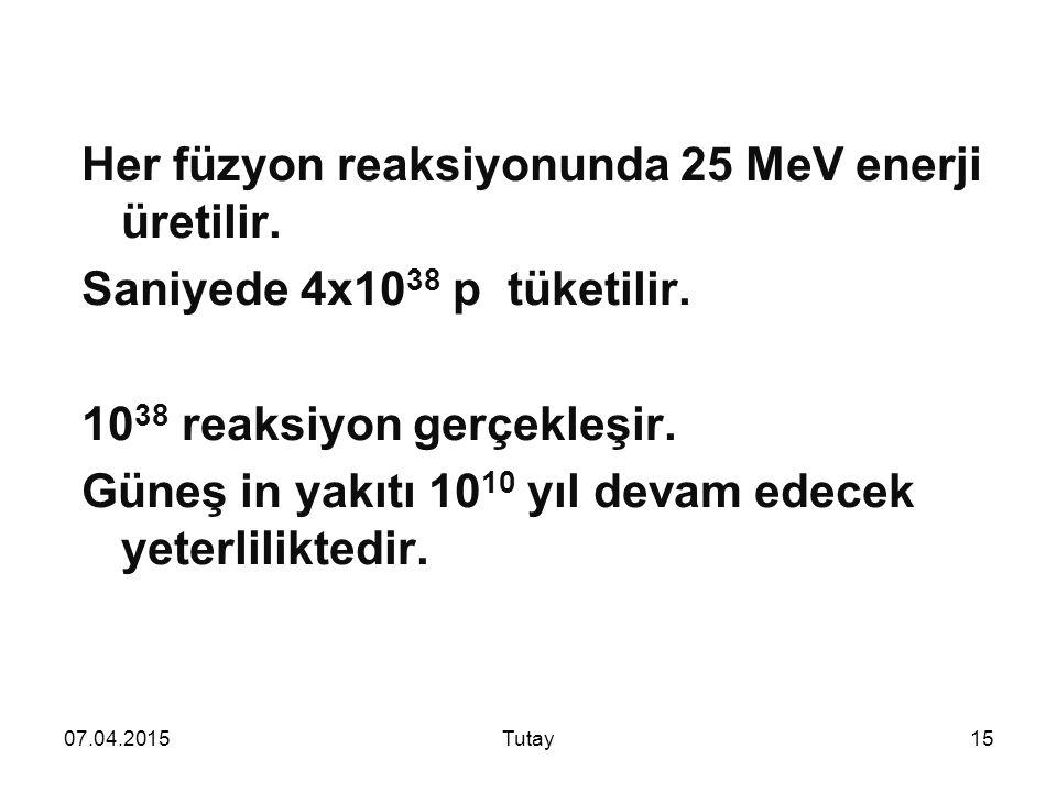 Her füzyon reaksiyonunda 25 MeV enerji üretilir.