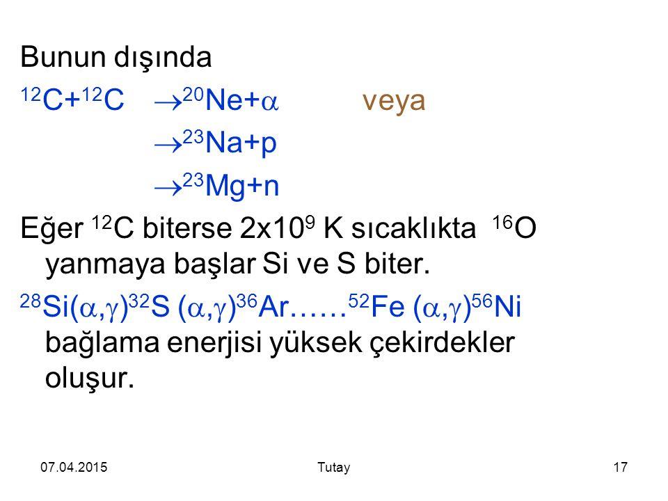 Eğer 12C biterse 2x109 K sıcaklıkta 16O yanmaya başlar Si ve S biter.
