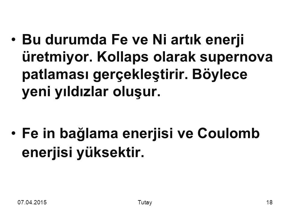 Fe in bağlama enerjisi ve Coulomb enerjisi yüksektir.