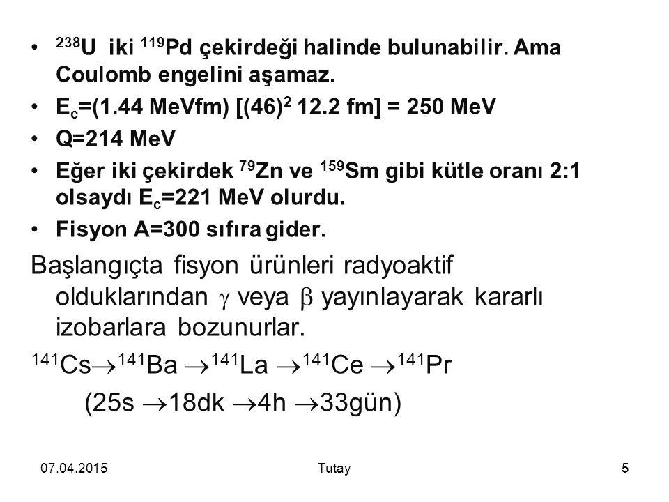 238U iki 119Pd çekirdeği halinde bulunabilir