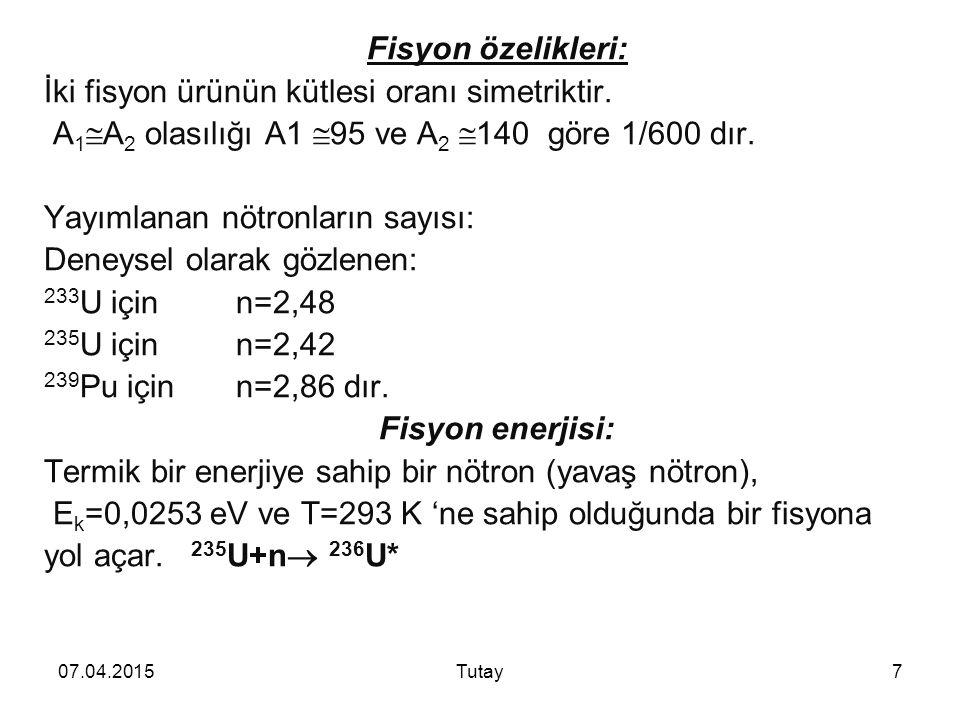 Fisyon özelikleri: Fisyon enerjisi: