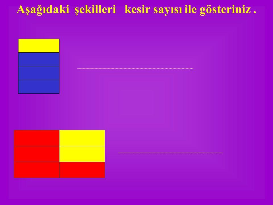 Aşağıdaki şekilleri kesir sayısı ile gösteriniz .