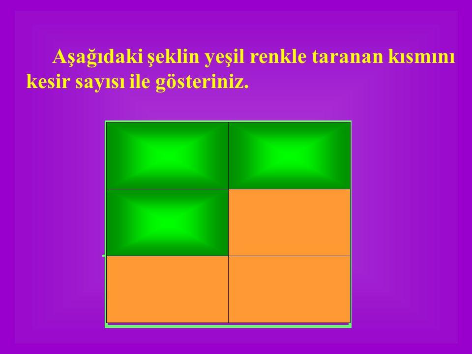 Aşağıdaki şeklin yeşil renkle taranan kısmını