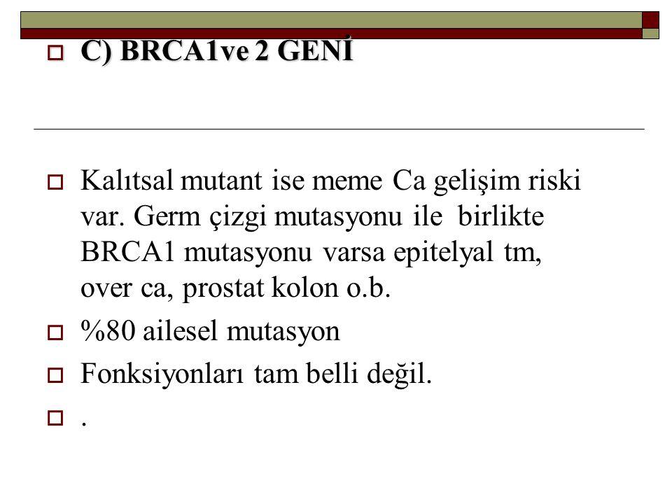 C) BRCA1ve 2 GENİ
