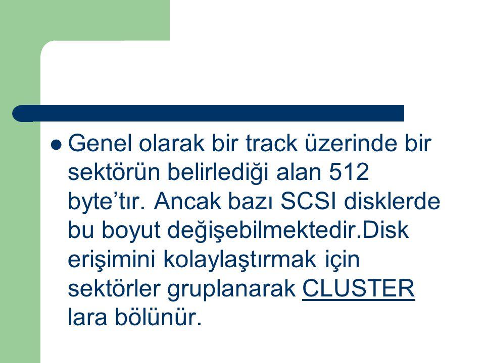 Genel olarak bir track üzerinde bir sektörün belirlediği alan 512 byte'tır.