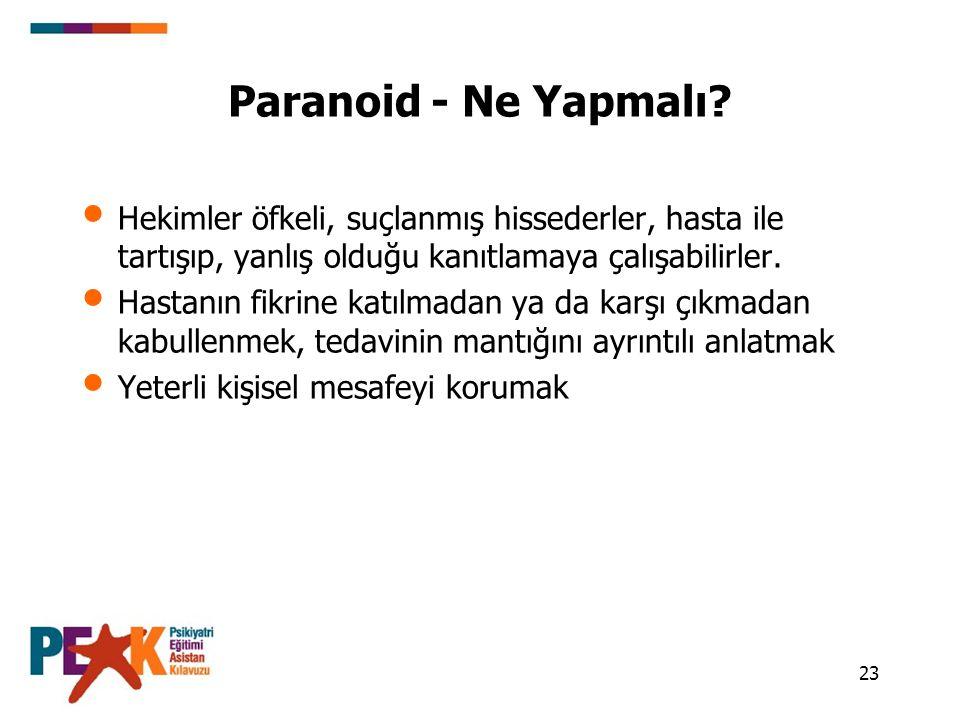 Paranoid - Ne Yapmalı Hekimler öfkeli, suçlanmış hissederler, hasta ile tartışıp, yanlış olduğu kanıtlamaya çalışabilirler.
