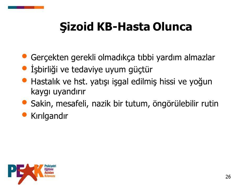Şizoid KB-Hasta Olunca