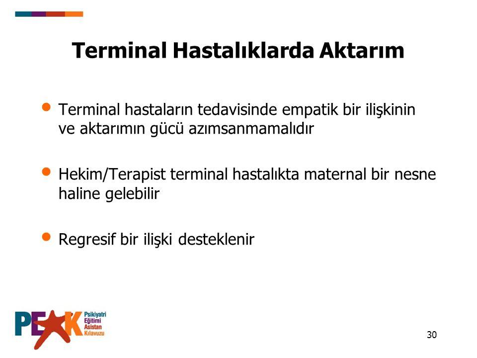 Terminal Hastalıklarda Aktarım
