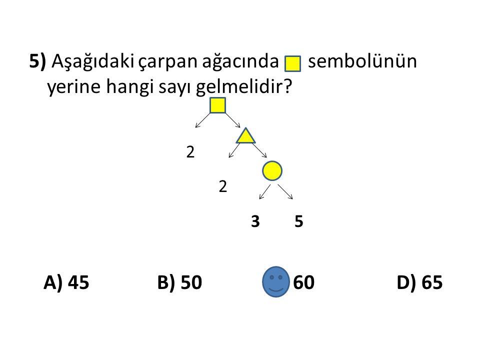 5) Aşağıdaki çarpan ağacında sembolünün yerine hangi sayı gelmelidir