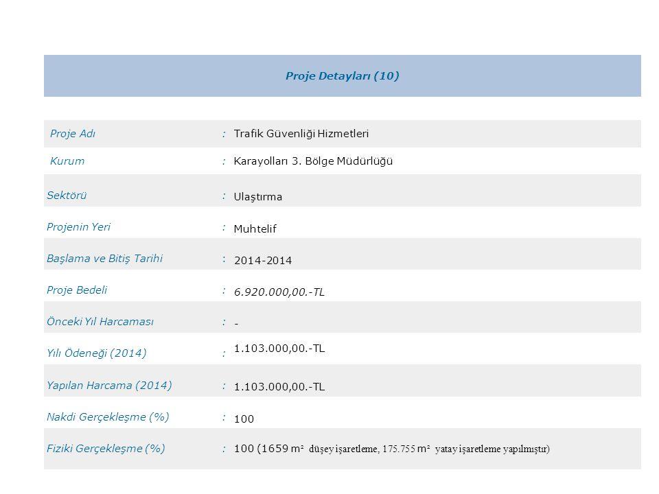 Proje Detayları (10) Proje Adı. : Trafik Güvenliği Hizmetleri. Kurum. Karayolları 3. Bölge Müdürlüğü.