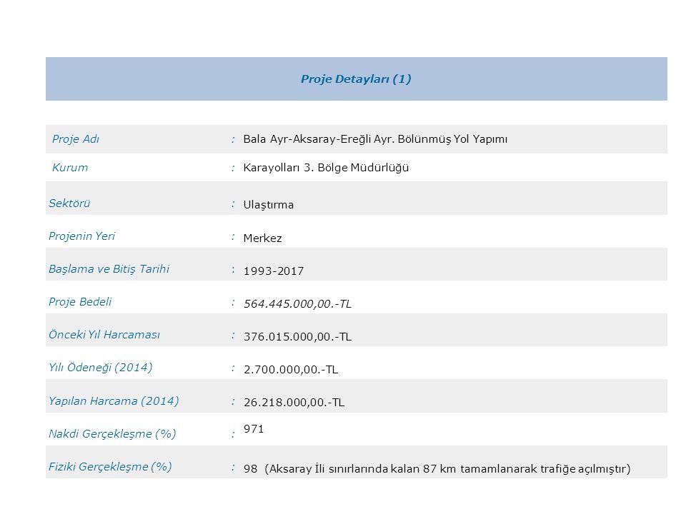 Proje Detayları (1) Proje Adı. : Bala Ayr-Aksaray-Ereğli Ayr. Bölünmüş Yol Yapımı. Kurum. Karayolları 3. Bölge Müdürlüğü.