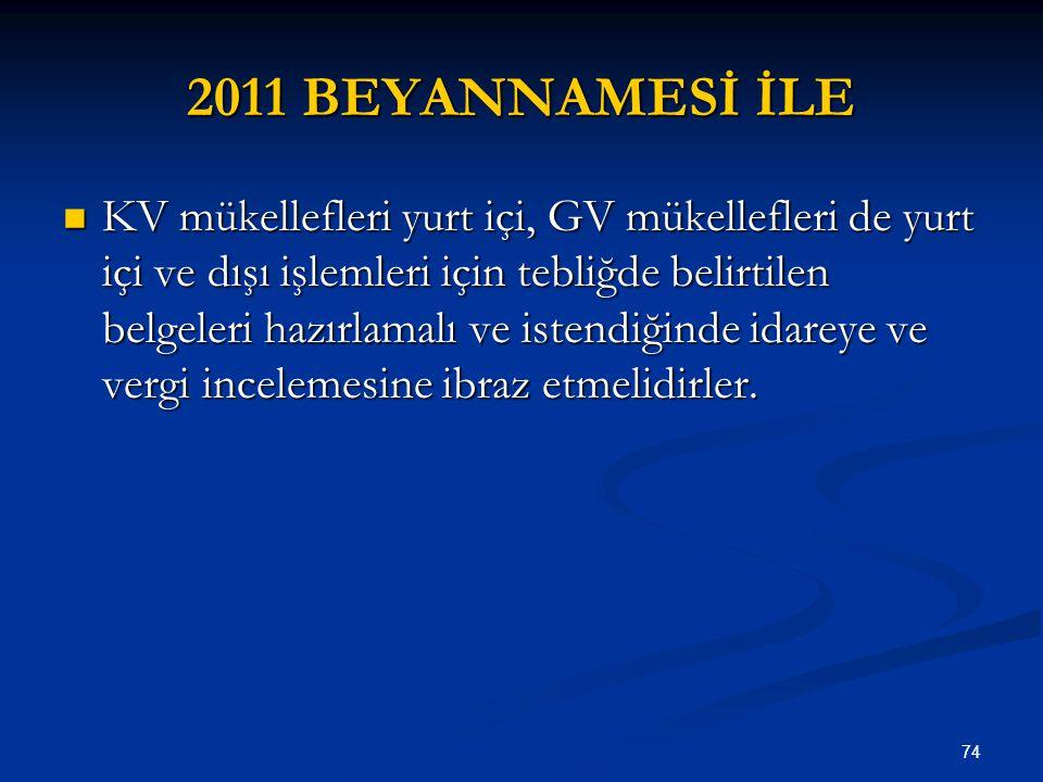2011 BEYANNAMESİ İLE