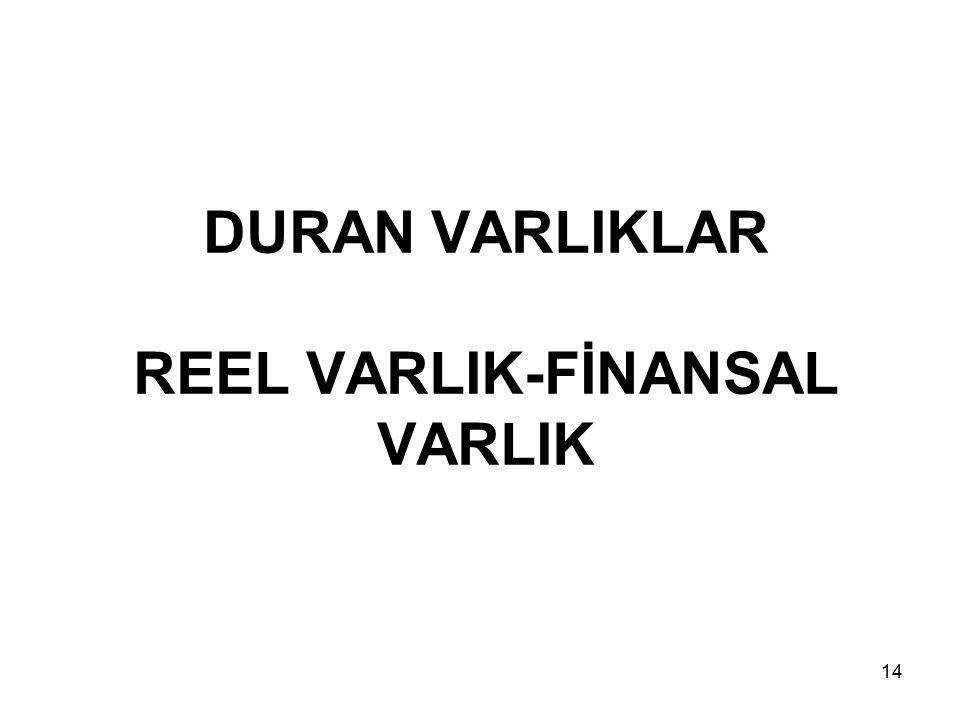DURAN VARLIKLAR REEL VARLIK-FİNANSAL VARLIK