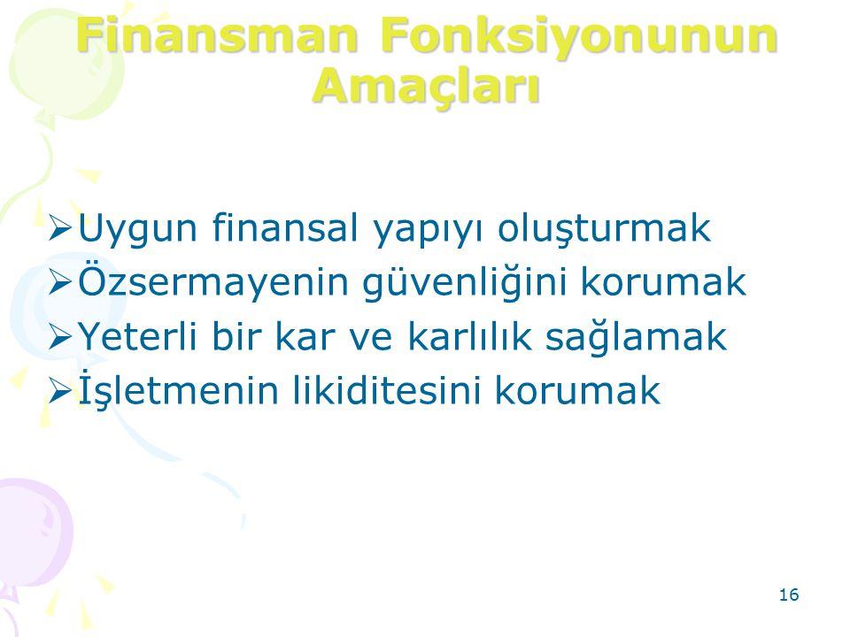 Finansman Fonksiyonunun Amaçları