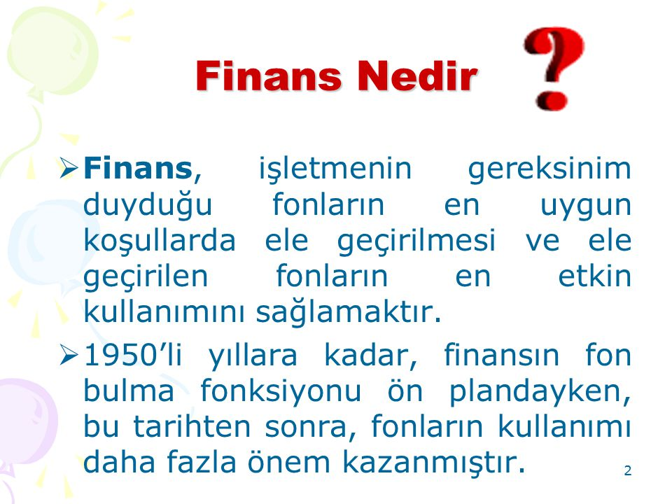 Finans Nedir