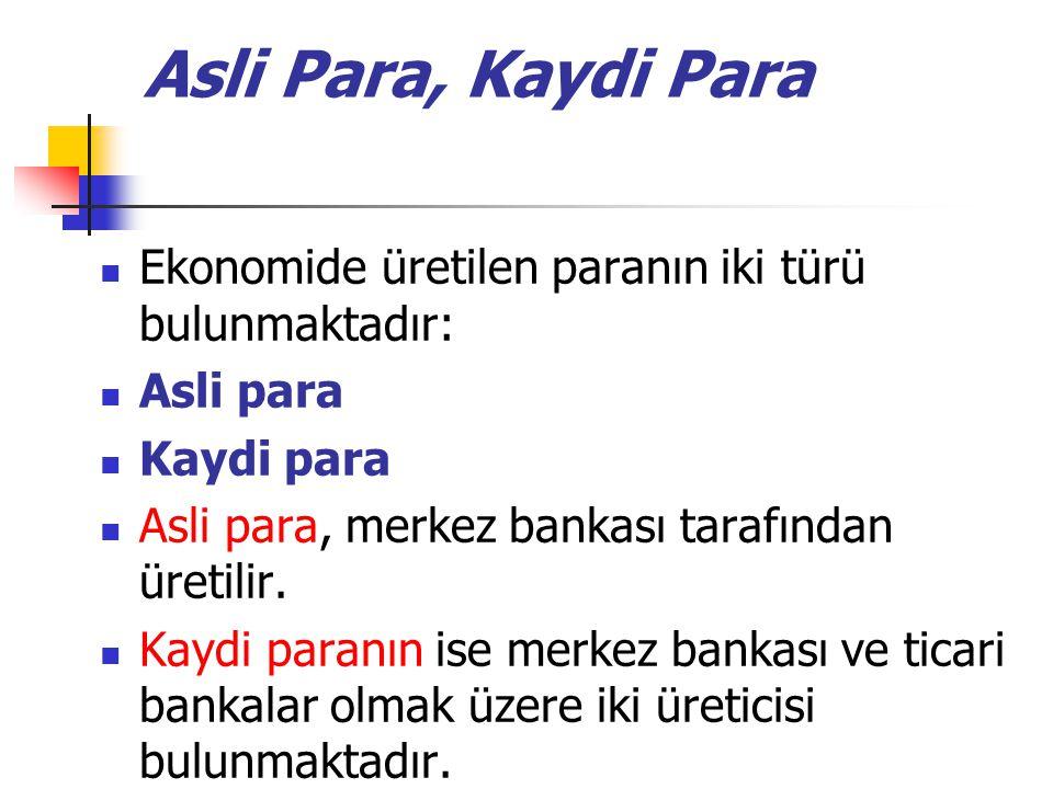 Asli Para, Kaydi Para Ekonomide üretilen paranın iki türü bulunmaktadır: Asli para. Kaydi para. Asli para, merkez bankası tarafından üretilir.