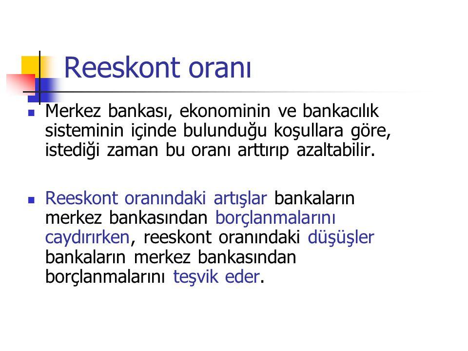Reeskont oranı Merkez bankası, ekonominin ve bankacılık sisteminin içinde bulunduğu koşullara göre, istediği zaman bu oranı arttırıp azaltabilir.