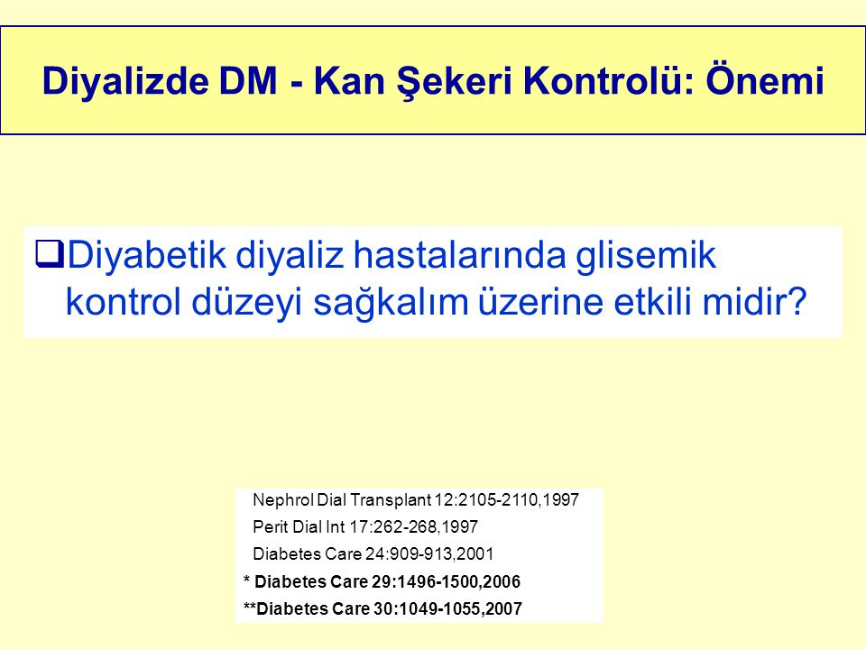 Diyalizde DM - Kan Şekeri Kontrolü: Önemi