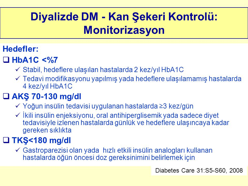 Diyalizde DM - Kan Şekeri Kontrolü: Monitorizasyon
