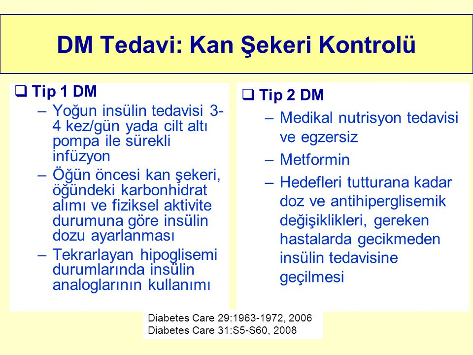 DM Tedavi: Kan Şekeri Kontrolü