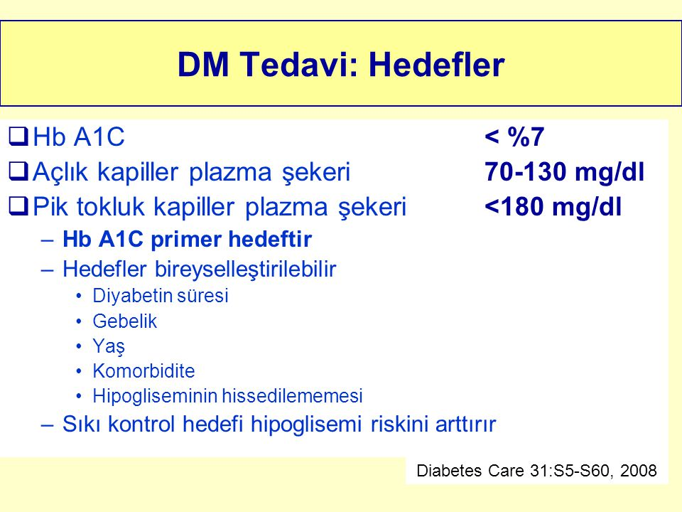 DM Tedavi: Hedefler Hb A1C < %7