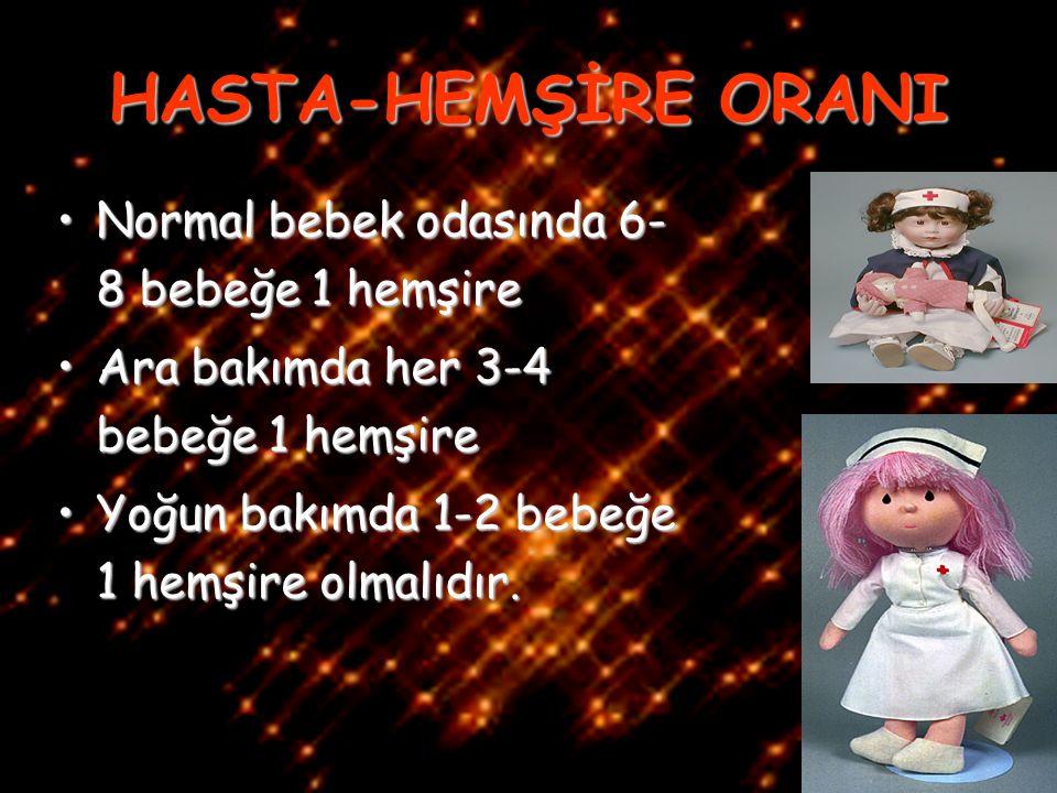 HASTA-HEMŞİRE ORANI Normal bebek odasında 6-8 bebeğe 1 hemşire