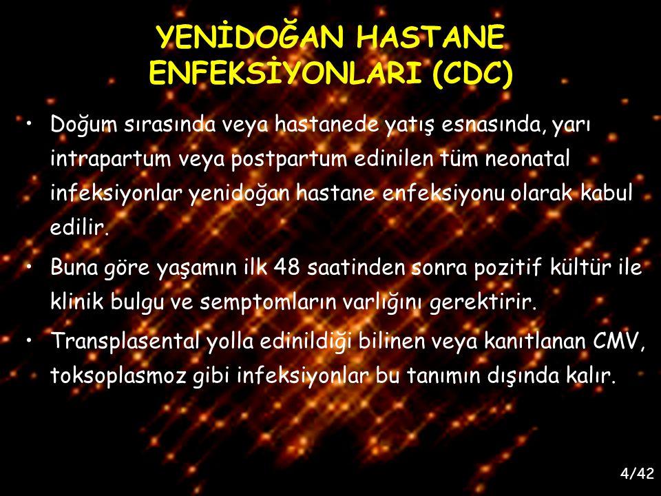 YENİDOĞAN HASTANE ENFEKSİYONLARI (CDC)