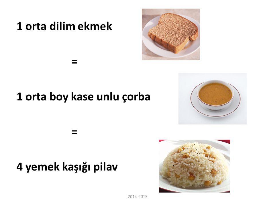 1 orta dilim ekmek = 1 orta boy kase unlu çorba 4 yemek kaşığı pilav