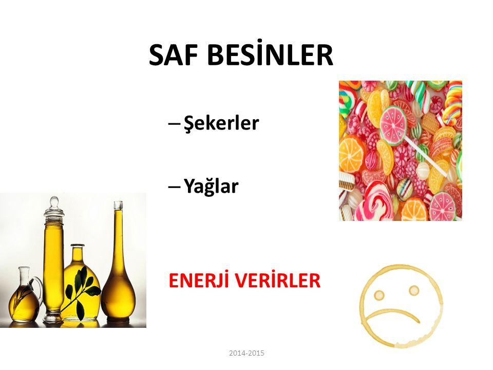 SAF BESİNLER Şekerler Yağlar ENERJİ VERİRLER 2014-2015