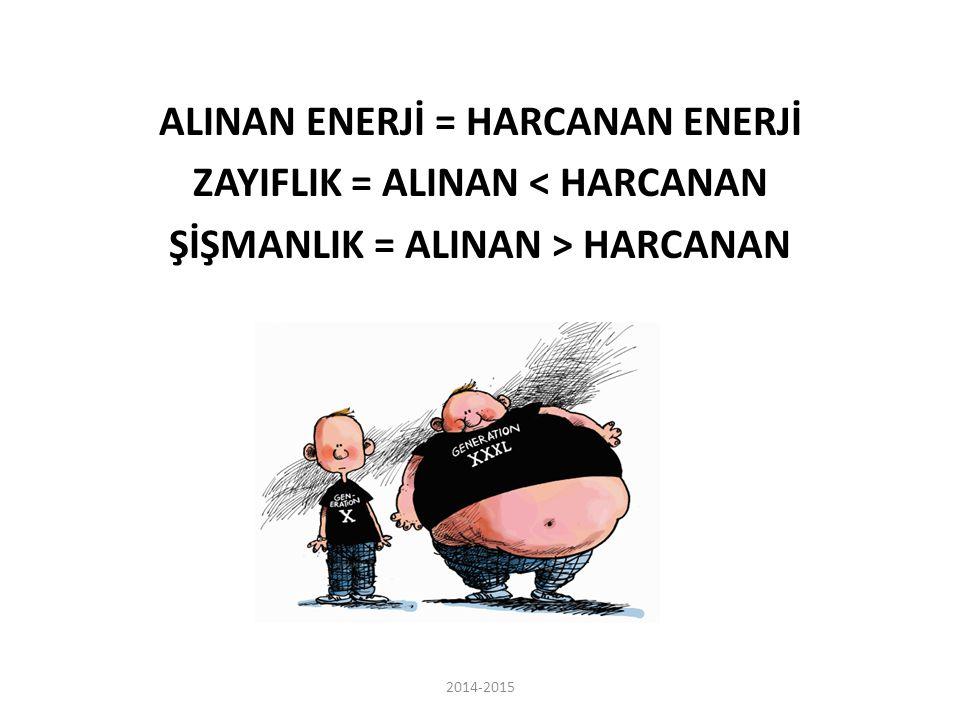 ALINAN ENERJİ = HARCANAN ENERJİ ZAYIFLIK = ALINAN < HARCANAN ŞİŞMANLIK = ALINAN > HARCANAN