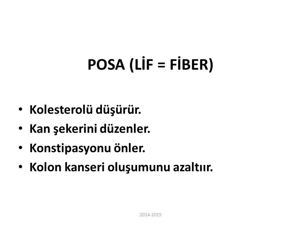 POSA (LİF = FİBER) Kolesterolü düşürür. Kan şekerini düzenler.