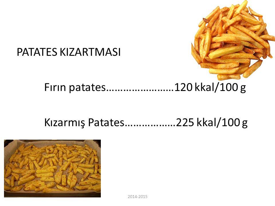 PATATES KIZARTMASI Fırın patates……………………120 kkal/100 g Kızarmış Patates………………225 kkal/100 g