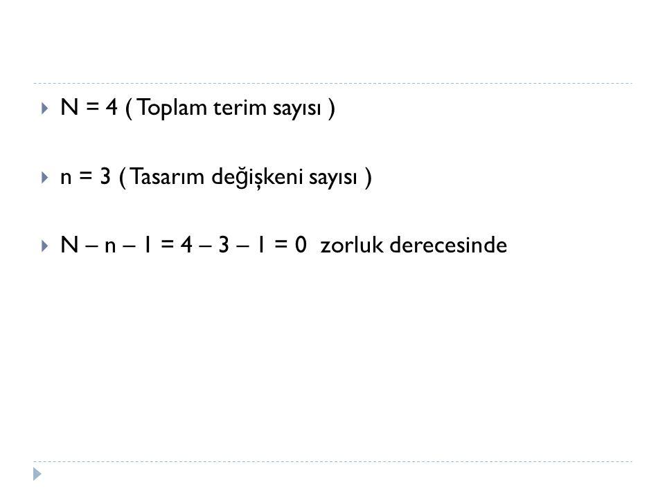 N = 4 ( Toplam terim sayısı )