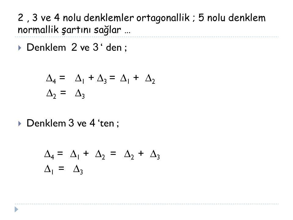 Denklem 2 ve 3 ' den ; ∆4 = ∆1 + ∆3 = ∆1 + ∆2 ∆2 = ∆3