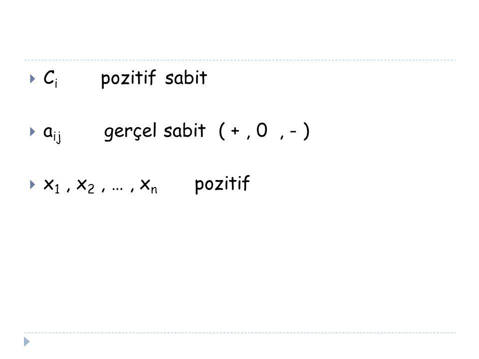 Ci pozitif sabit aij gerçel sabit ( + , 0 , - ) x1 , x2 , … , xn pozitif