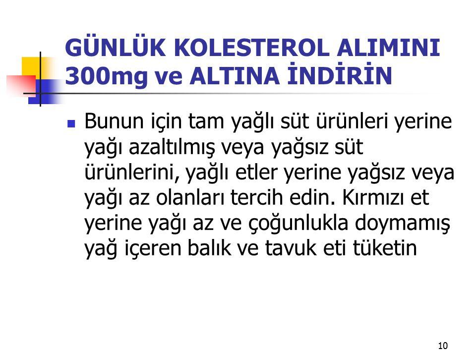 GÜNLÜK KOLESTEROL ALIMINI 300mg ve ALTINA İNDİRİN