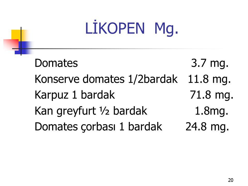 LİKOPEN Mg. Domates 3.7 mg. Konserve domates 1/2bardak 11.8 mg.