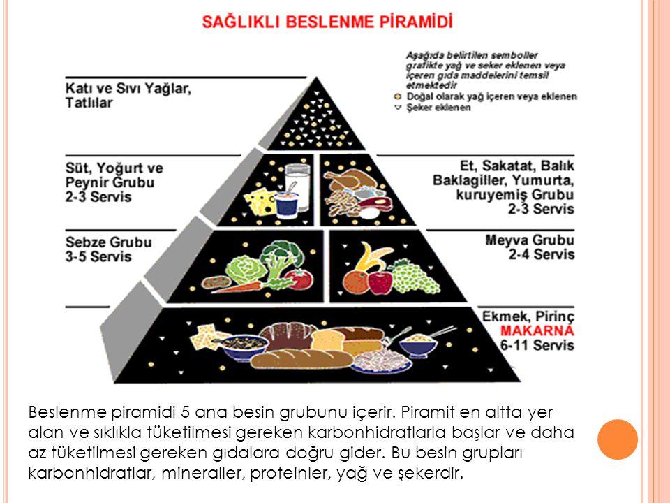 Beslenme piramidi 5 ana besin grubunu içerir