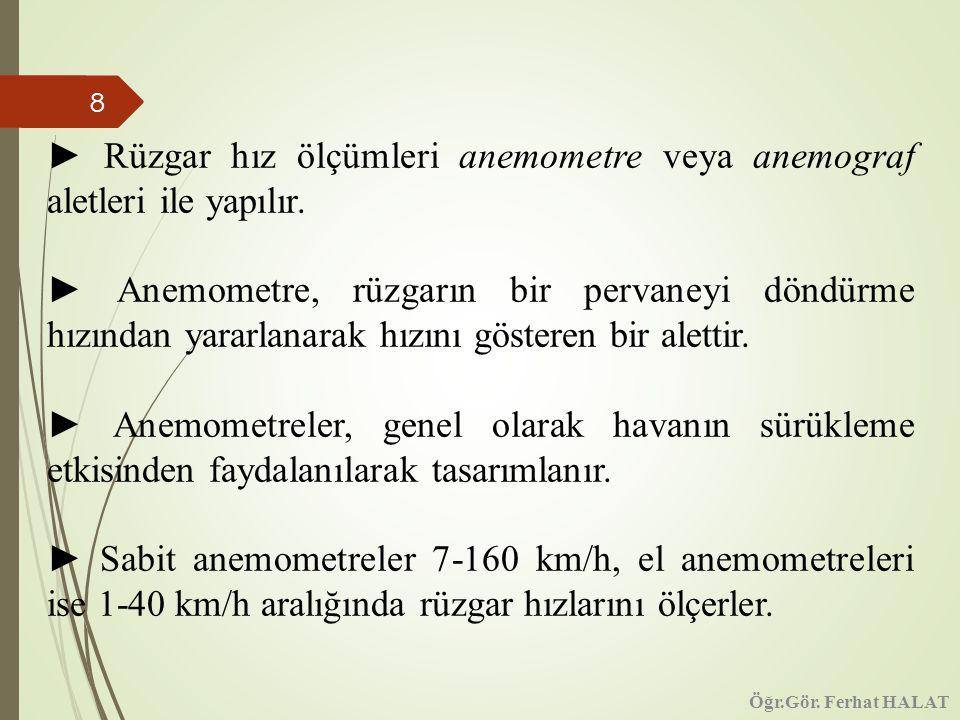 ► Rüzgar hız ölçümleri anemometre veya anemograf aletleri ile yapılır.