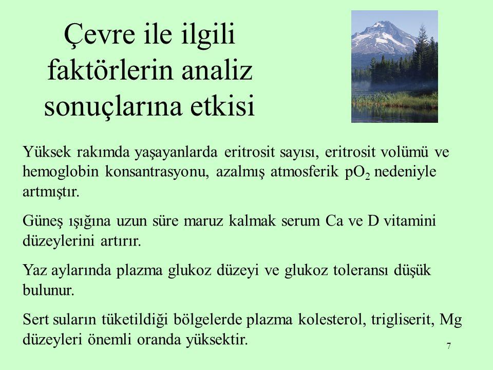 Çevre ile ilgili faktörlerin analiz sonuçlarına etkisi