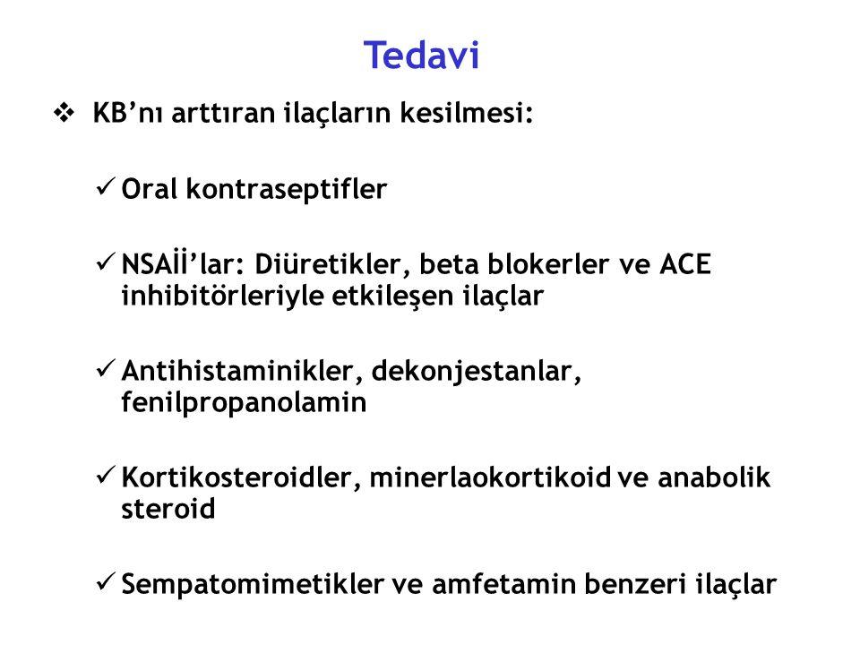Tedavi KB'nı arttıran ilaçların kesilmesi: Oral kontraseptifler