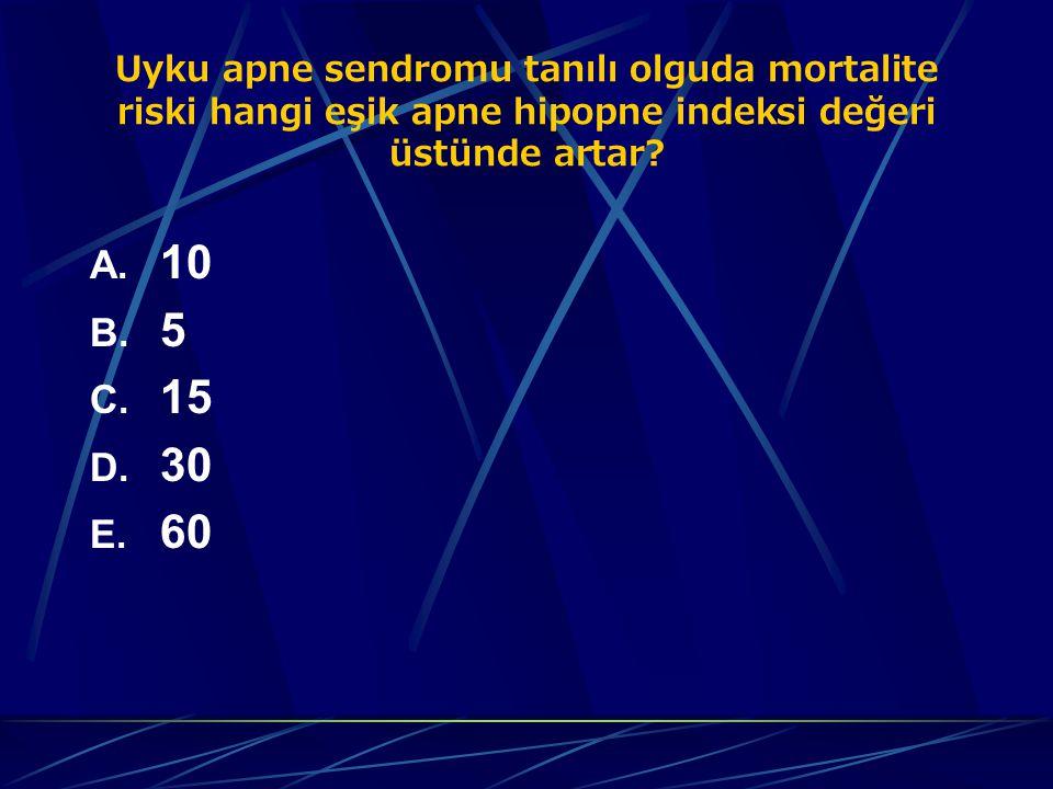 Uyku apne sendromu tanılı olguda mortalite riski hangi eşik apne hipopne indeksi değeri üstünde artar