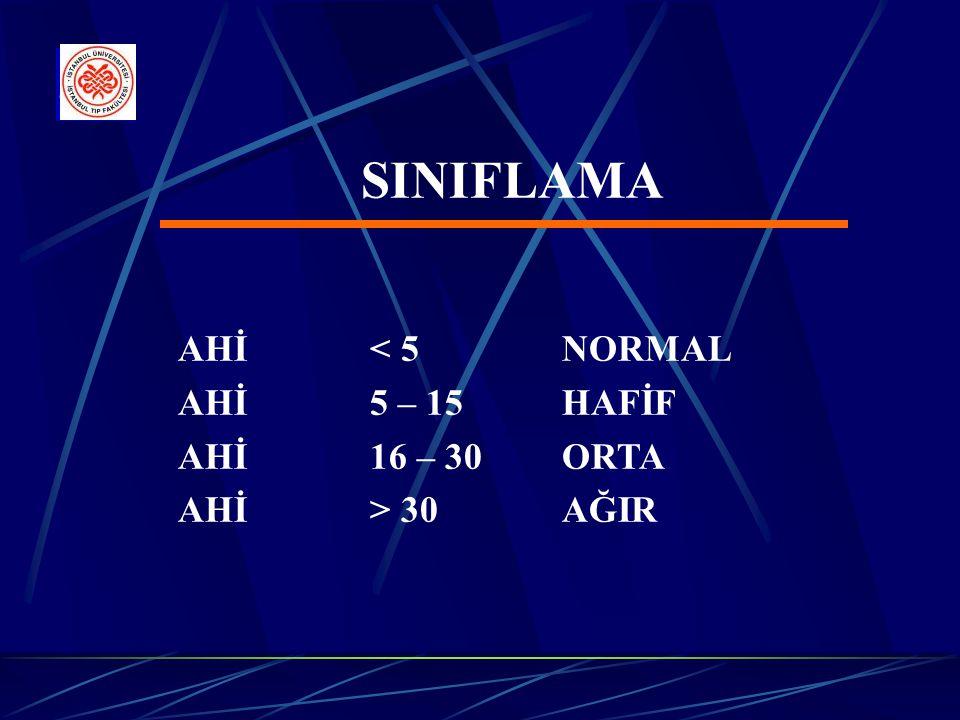 SINIFLAMA AHİ < 5 NORMAL AHİ 5 – 15 HAFİF AHİ 16 – 30 ORTA